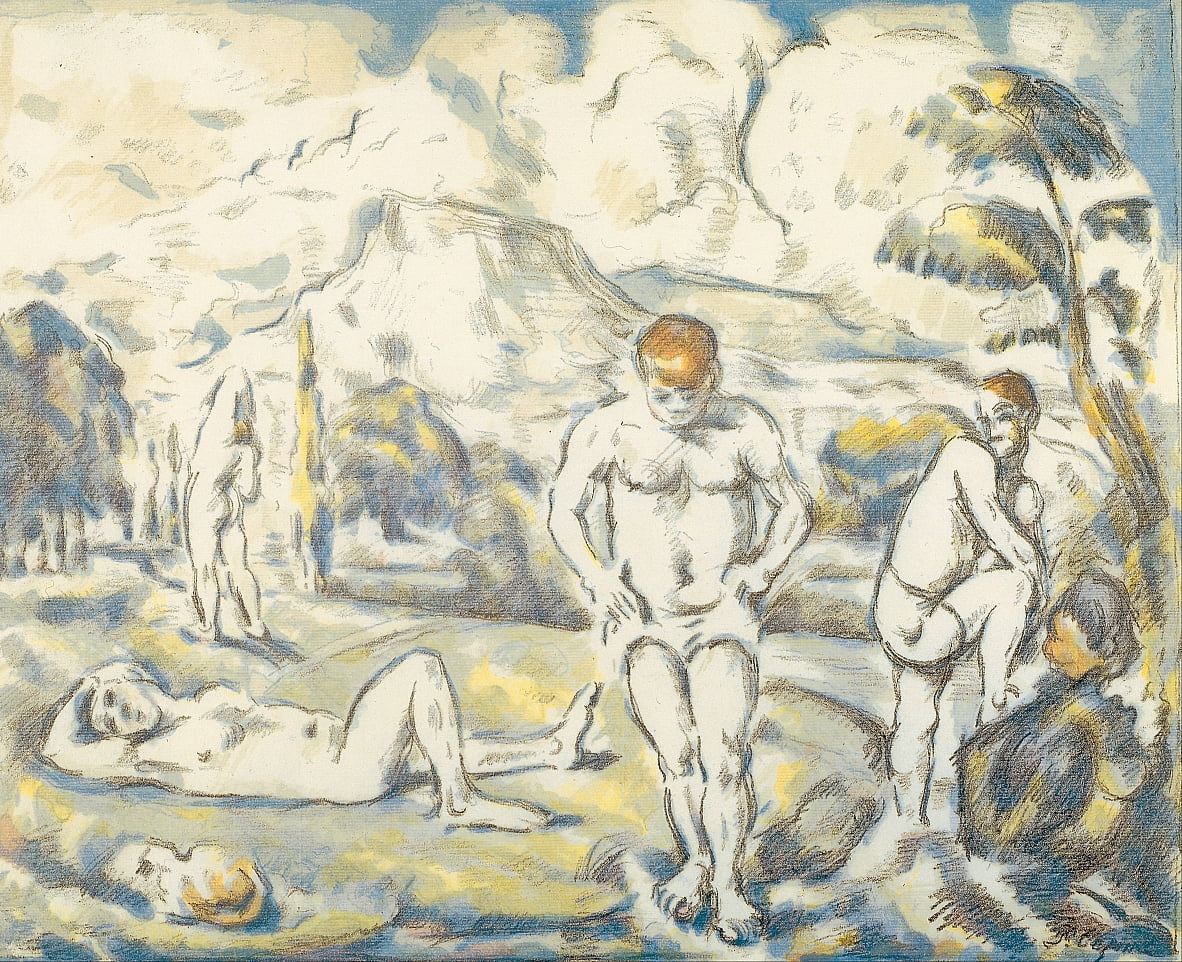 The bathers (large plate) by Paul Cézanne