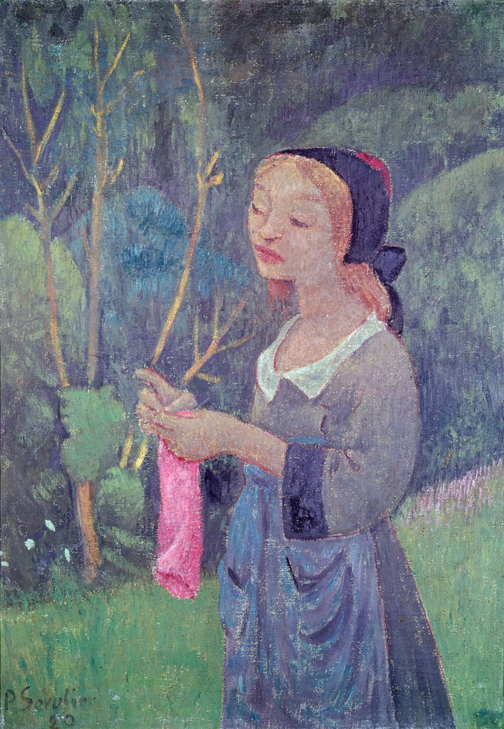 Young Girl with a Pink Stocking or Young Breton Knitting, 1920  by Paul Sérusier