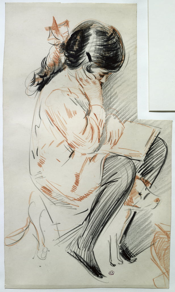 Paulette Reading Sitting on her Toy Dog (coloured pencil on paper) by Paul Cesar Helleu