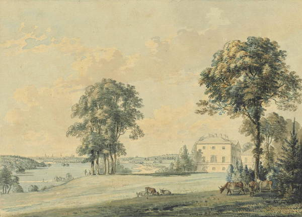 View of Nuneham House, Nuneham Courtenay, the spires of Oxford beyond by Paul Sandby