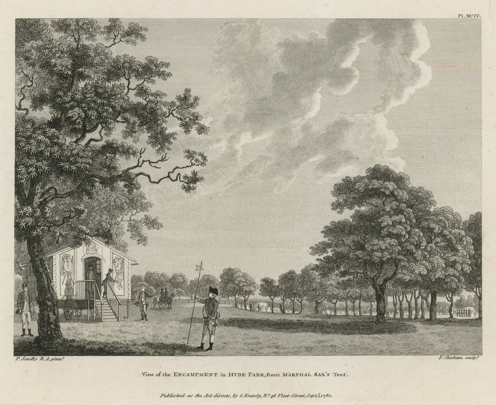 View of the encampment in Hyde Park from Marshal Sax