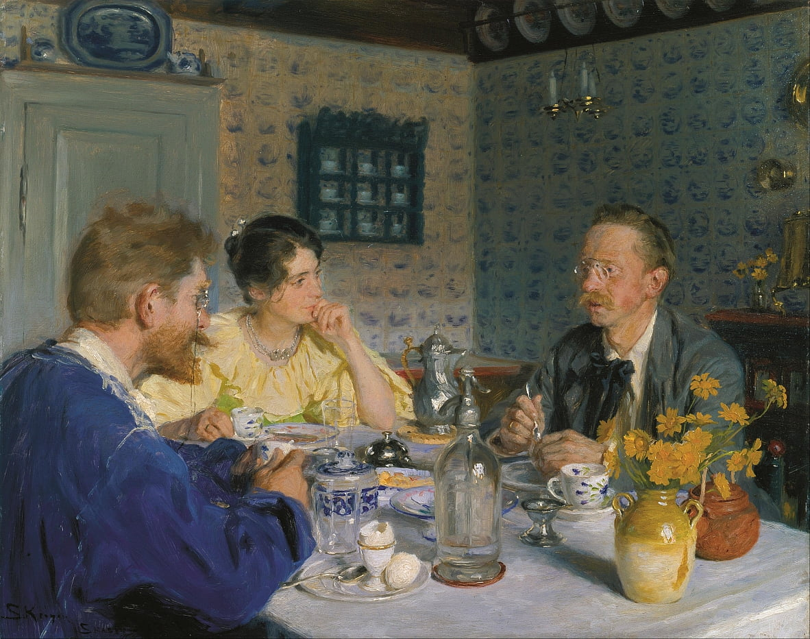 A luncheon. The artist, his wife and the writer Otto Benzon by Peder Severin Krøyer