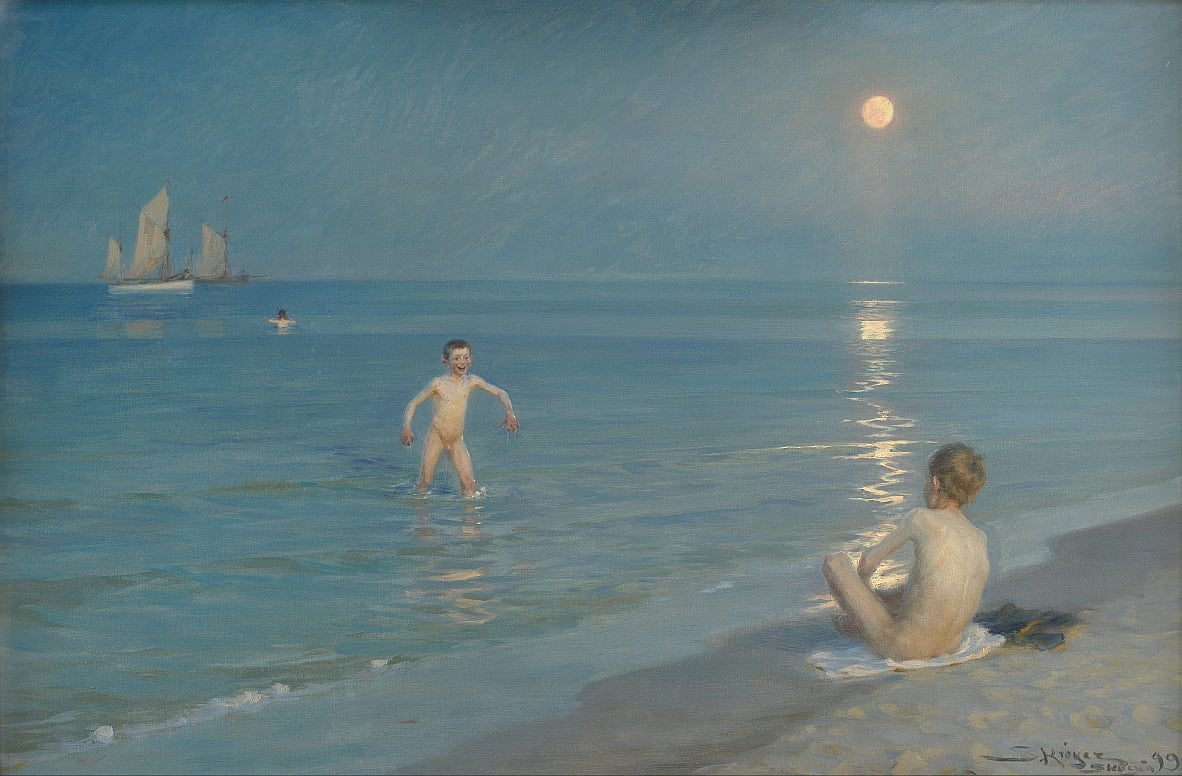 Boys Bathing at Skagen. Summer Evening by Peder Severin Krøyer