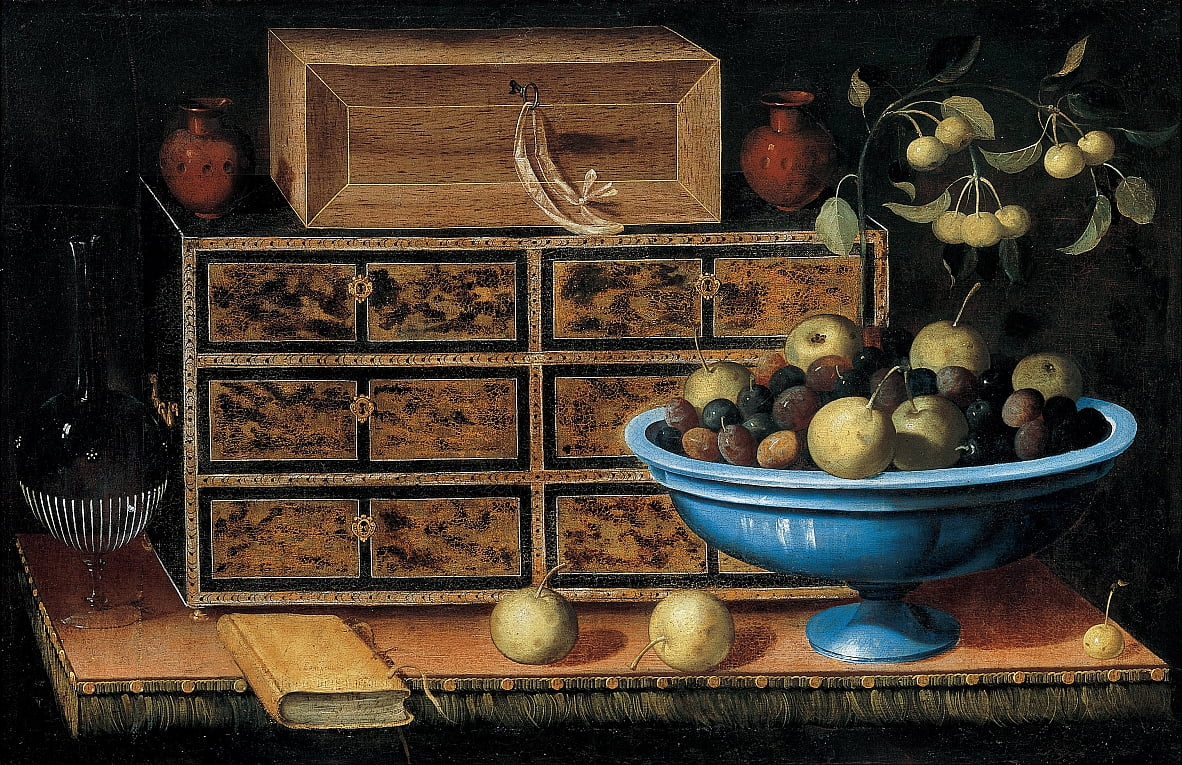 Writing Desk with a small Chest and a Fruit Bowl by Pedro de Camprobín