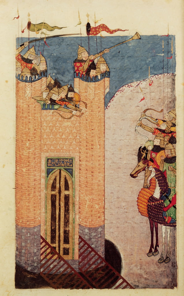 Ms 7926 206 f.149 Mongols besieging a citadel, c.1252-60  by Persian School
