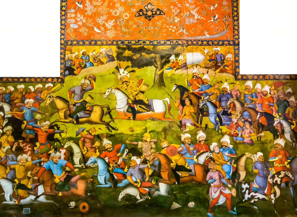 Battle of Taher-Abad or Battle of Merv with victory of Shah Ismail I over Muhammad Shaybani Khan, Reception Hall, Chehel Sotun, 1647  by Persian School
