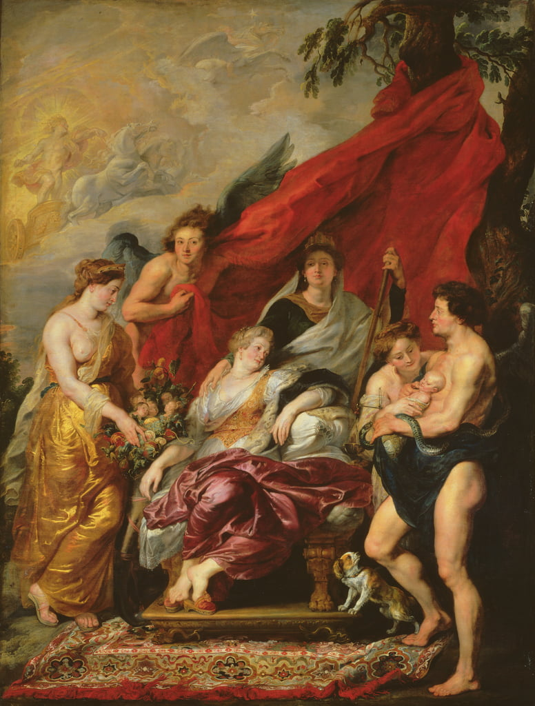 The Birth of Louis XIII (1601-43) at Fontainebleau, 27th September 1601, from the Medici Cycle, 1621-25  by Peter Paul Rubens