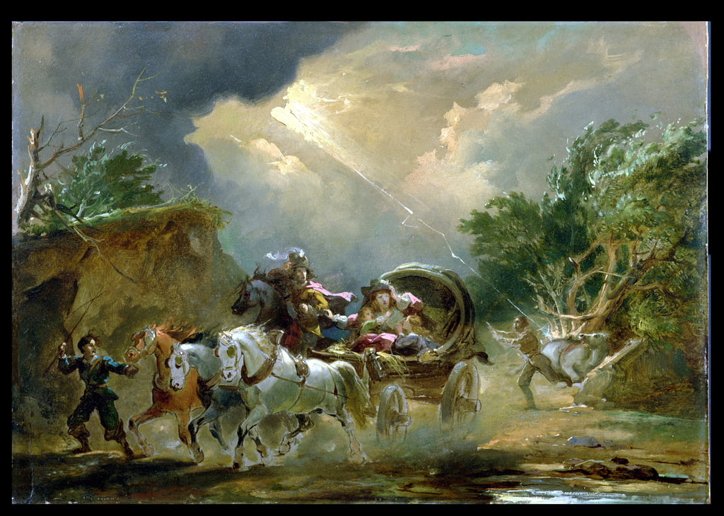 Coach in a Thunderstorm, 1790s (oil on millboard) by Philippe Jacques de Loutherbourg
