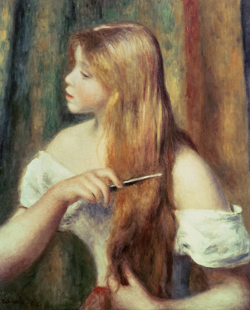 Blonde girl combing her hair, 1894 by Pierre Auguste Renoir