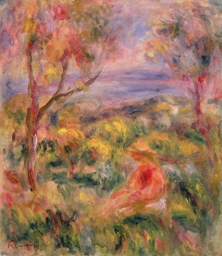 Girl and Two Trees in a Landscape, 1917  by Pierre Auguste Renoir