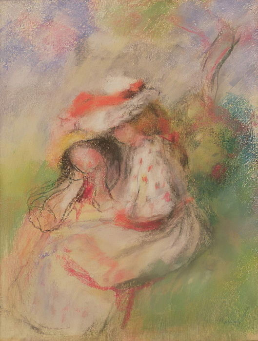 Two Young Girls in a Garden, c.1885 (pastel) by Pierre Auguste Renoir