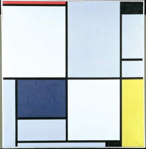 Tableau 1, with Red, Black, Blue and Yellow, 1921  by Piet Mondrian