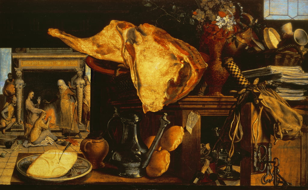 Vanitas still life (Christ with Mary and Martha), 1552 (panel) by Pieter Aertsen