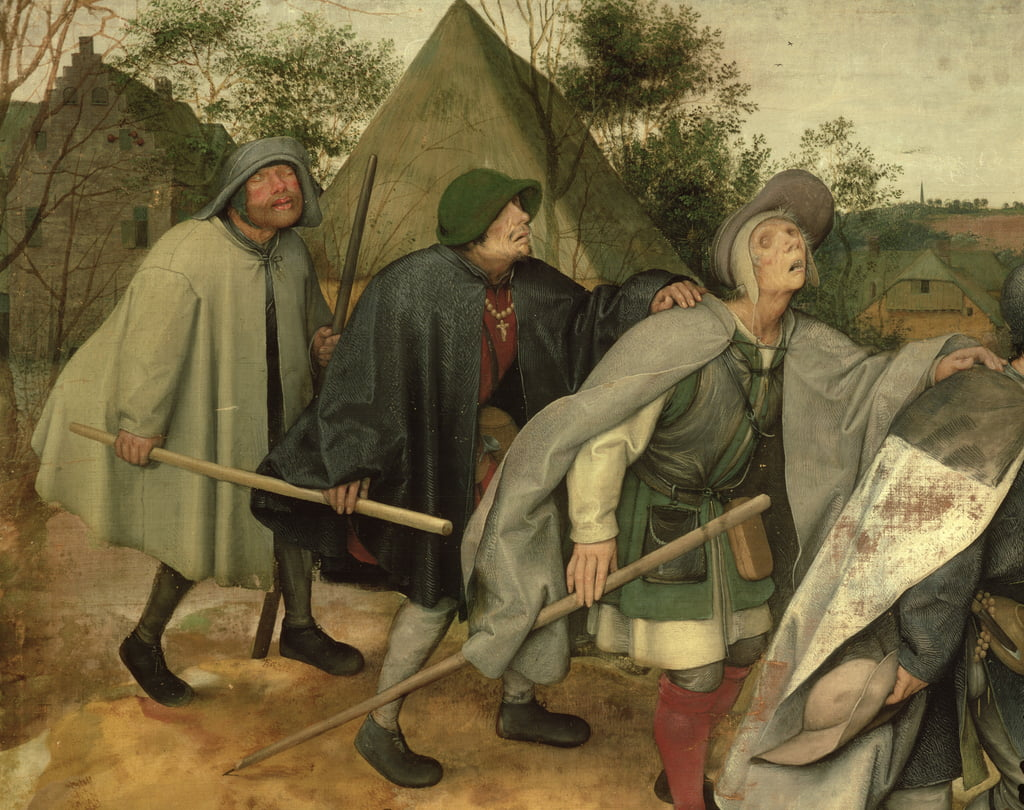 Parable of the Blind, detail of three blind men, 1568  (detail of 29163) by Pieter Bruegel the Elder