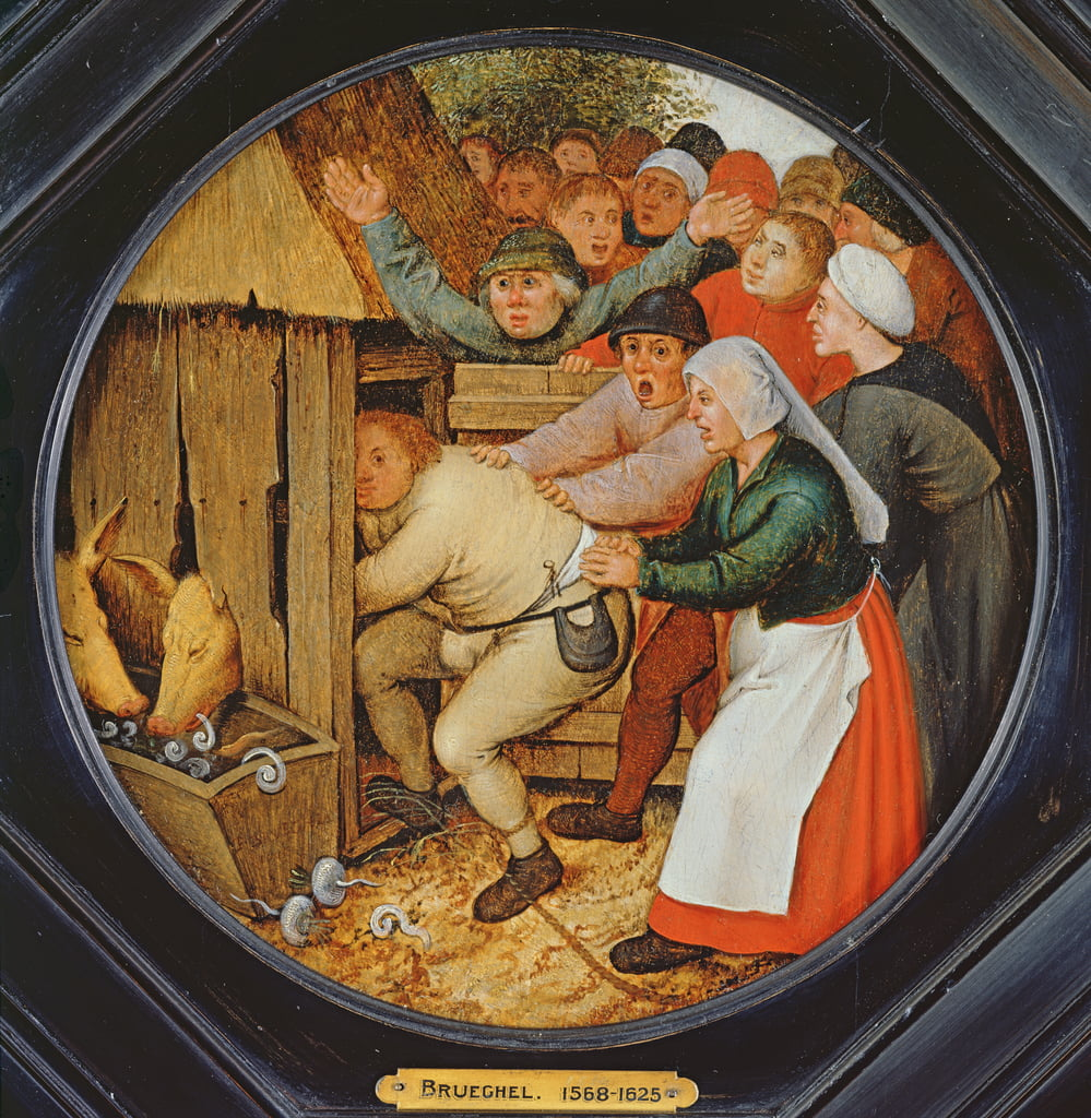 The Drunkard Pushed into the Pigsty  by Pieter Brueghel the Younger