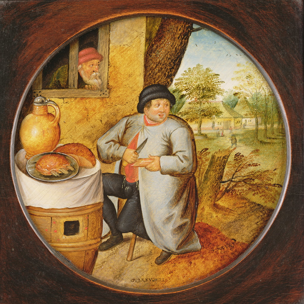 The Man who Cuts Wood and Meat with the Same Knife  by Pieter Brueghel the Younger