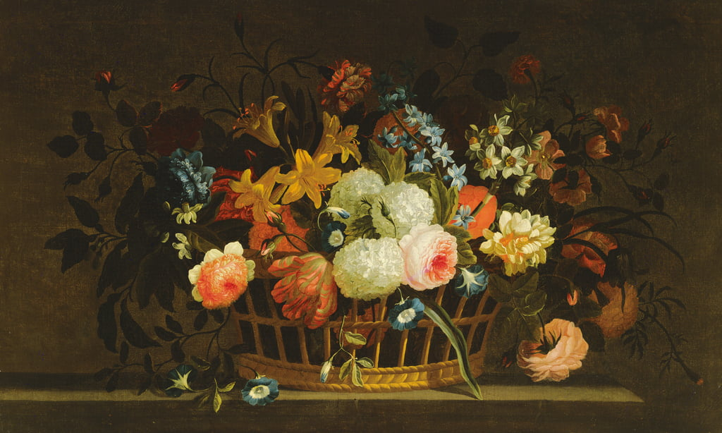 Still Life of Flowers in a Basket on a Stone Ledge by Pieter Hardime