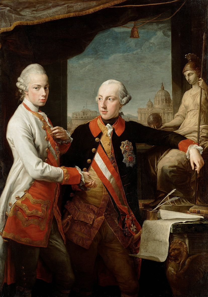 Emperor Joseph II with Grand Duke Pietro Leopoldo of Tuscany by Pompeo Girolamo Batoni