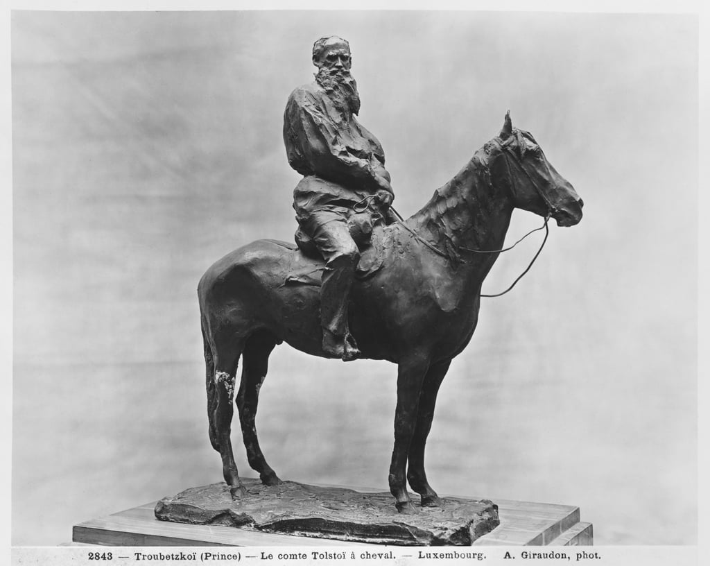 Leo Tolstoy riding Delire (bronze)  by Prince Paul Petrovic Troubetzkoy