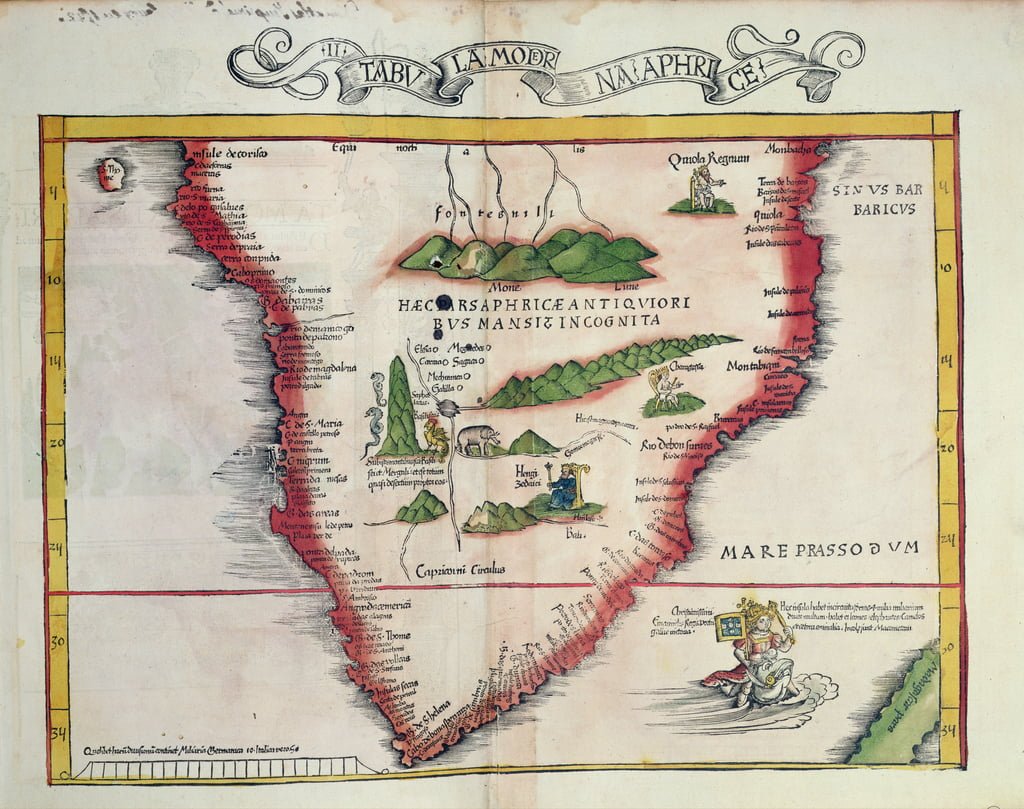 Map of Southern Africa, published in Strasbourg in 1522  by Ptolemy
