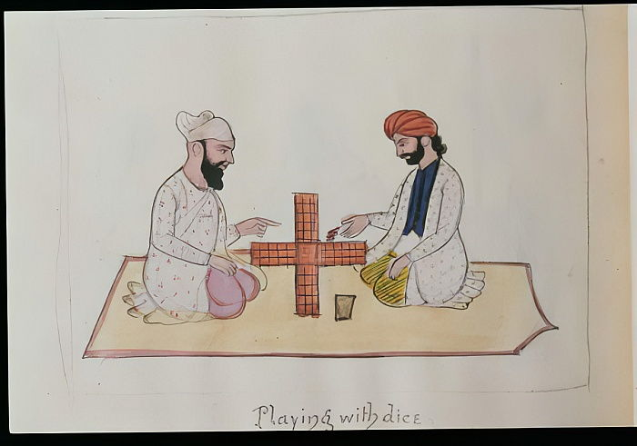 Playing Dice, c.1890 (wc on paper) by Punjabi School