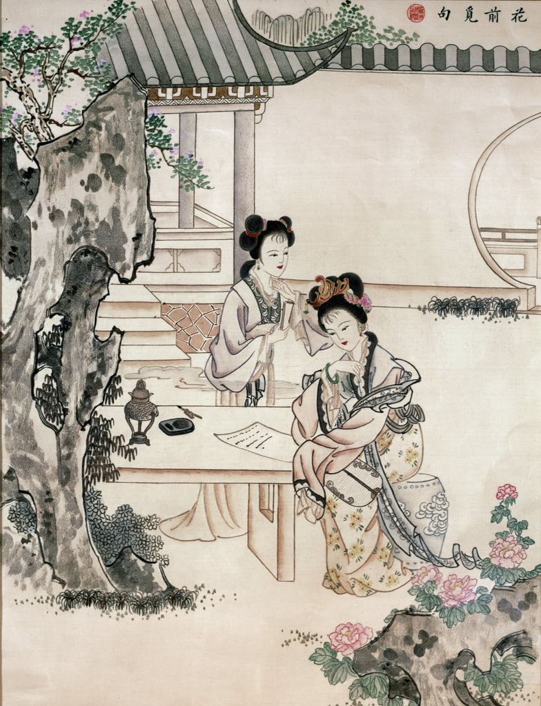 Chinese ladies in a garden (wc und hair embroidery) by Qing Dynasty Chinese School
