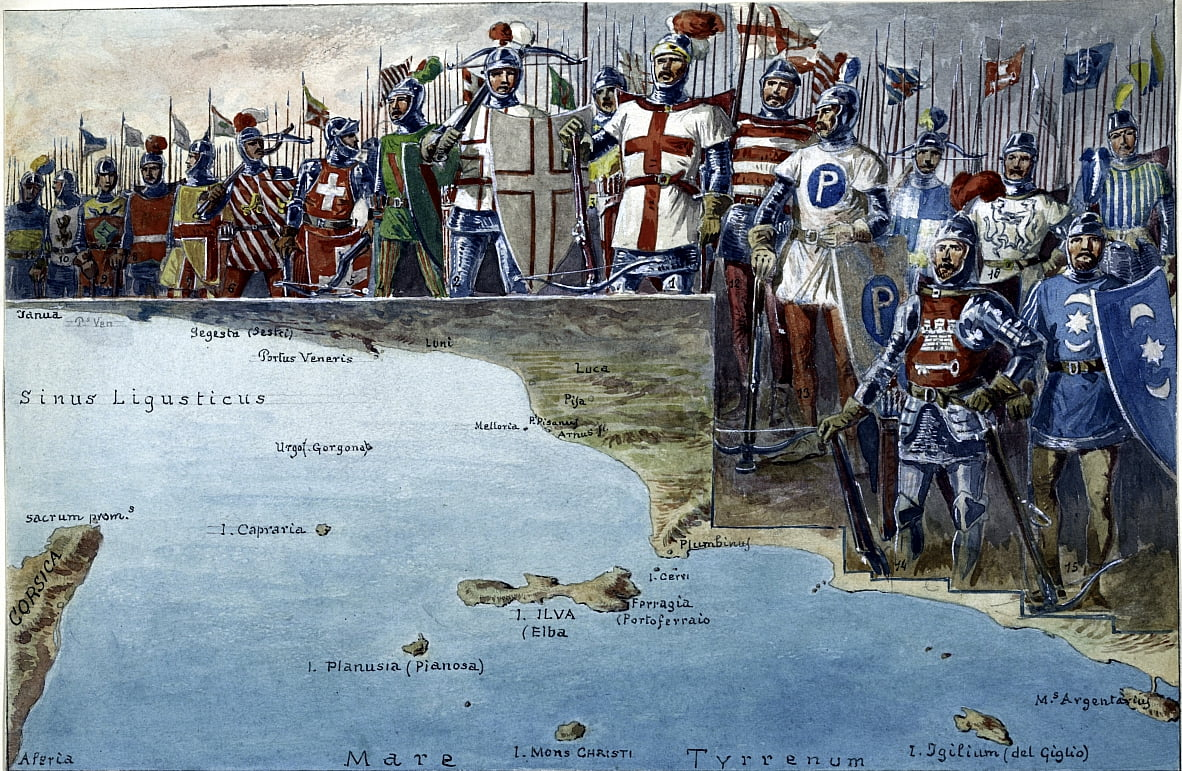 Map of the battleground of the Battle of Meloria in 1284, with the uniforms and military costumes of the Genoese troops participating in it. by Quinto Cenni