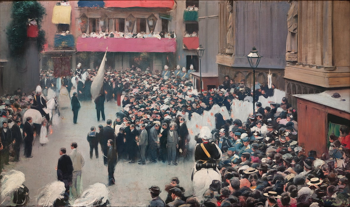 The Corpus Christi Procession Leaving the Church of Santa Maria del Mar by Ramon Casas i Carbo