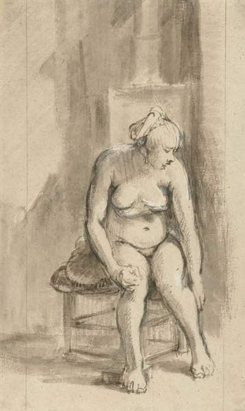 Nude Woman Seated by a Stove, c.1660-62 by Rembrandt van Rijn