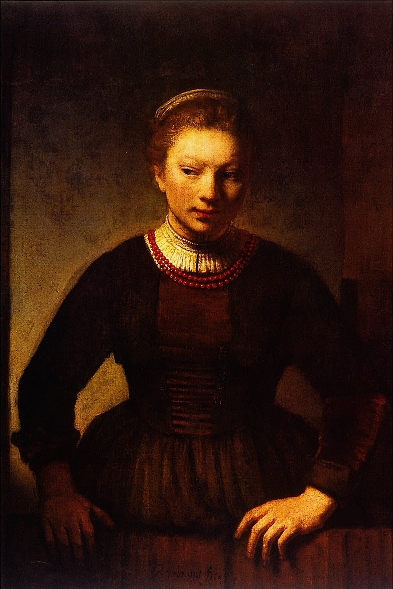 Girl at an Open Half-Door by Rembrandt van Rijn