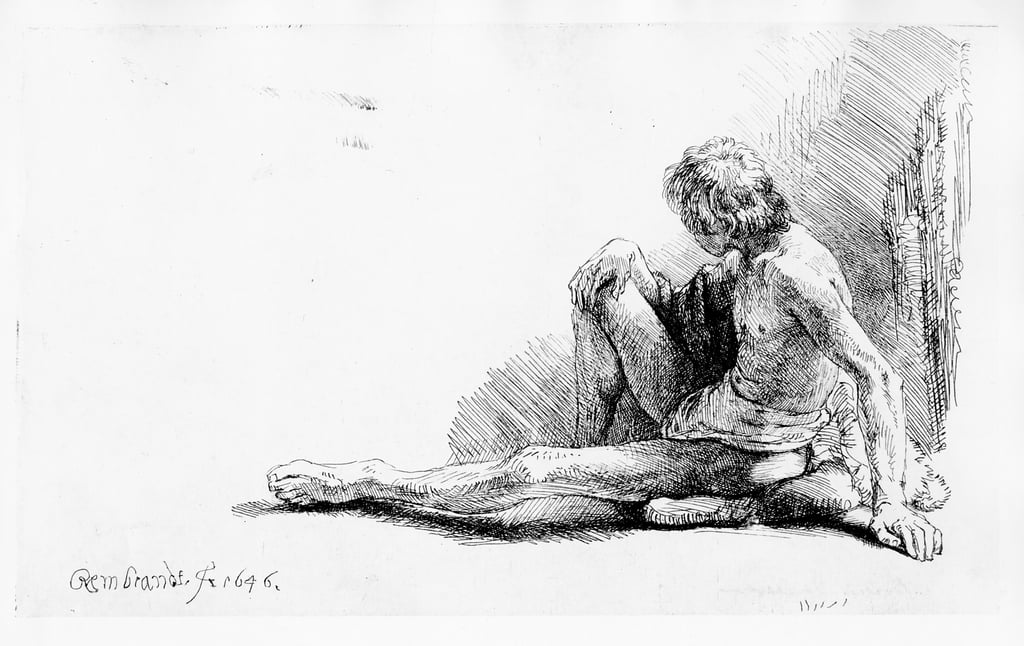 Man seated on the ground, 1646  by Rembrandt van Rijn