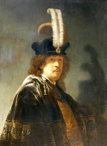 Self-portrait in a Feathered Hat by Rembrandt van Rijn