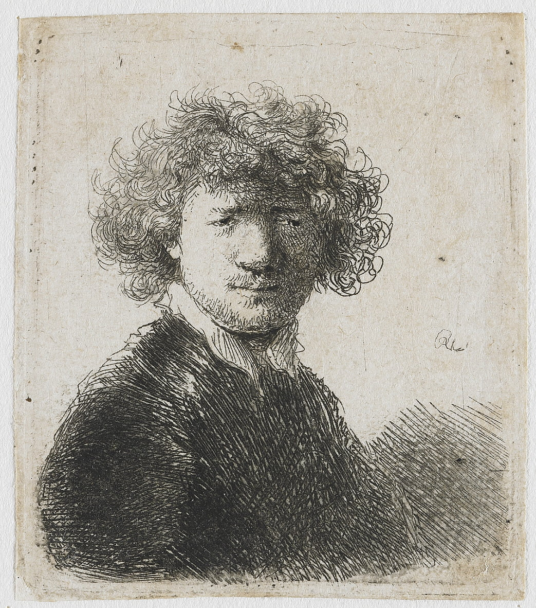 Self-portrait with curly hair and white collar by Rembrandt van Rijn