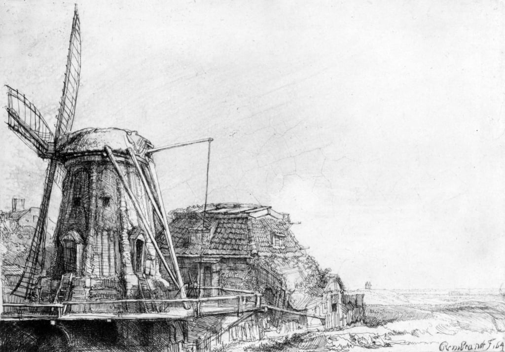 The Windmill, 1641 (etching) by Rembrandt van Rijn