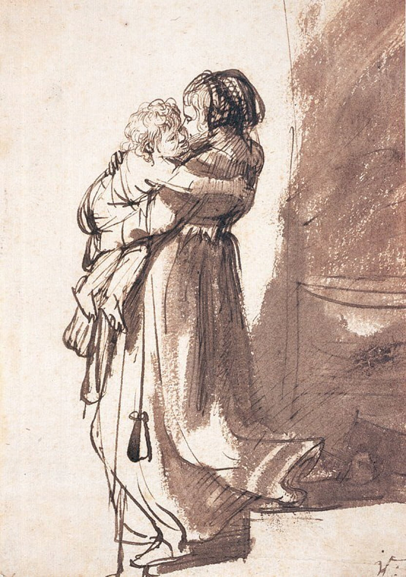 Woman Carrying a Child Downstairs by Rembrandt van Rijn