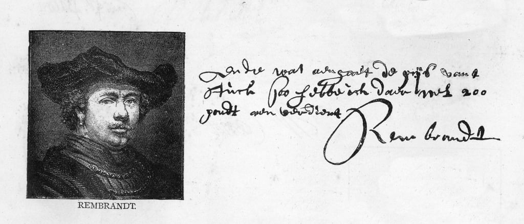 Handwriting and signature of Rembrandt from a letter to Constantine Huygens requesting payment of a sum of money owed, c. 1640  by Rembrandt van Rijn