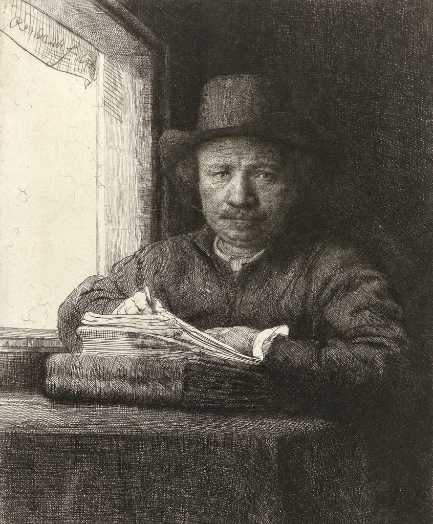 Self-portrait etching at a window, 1648  by Rembrandt van Rijn