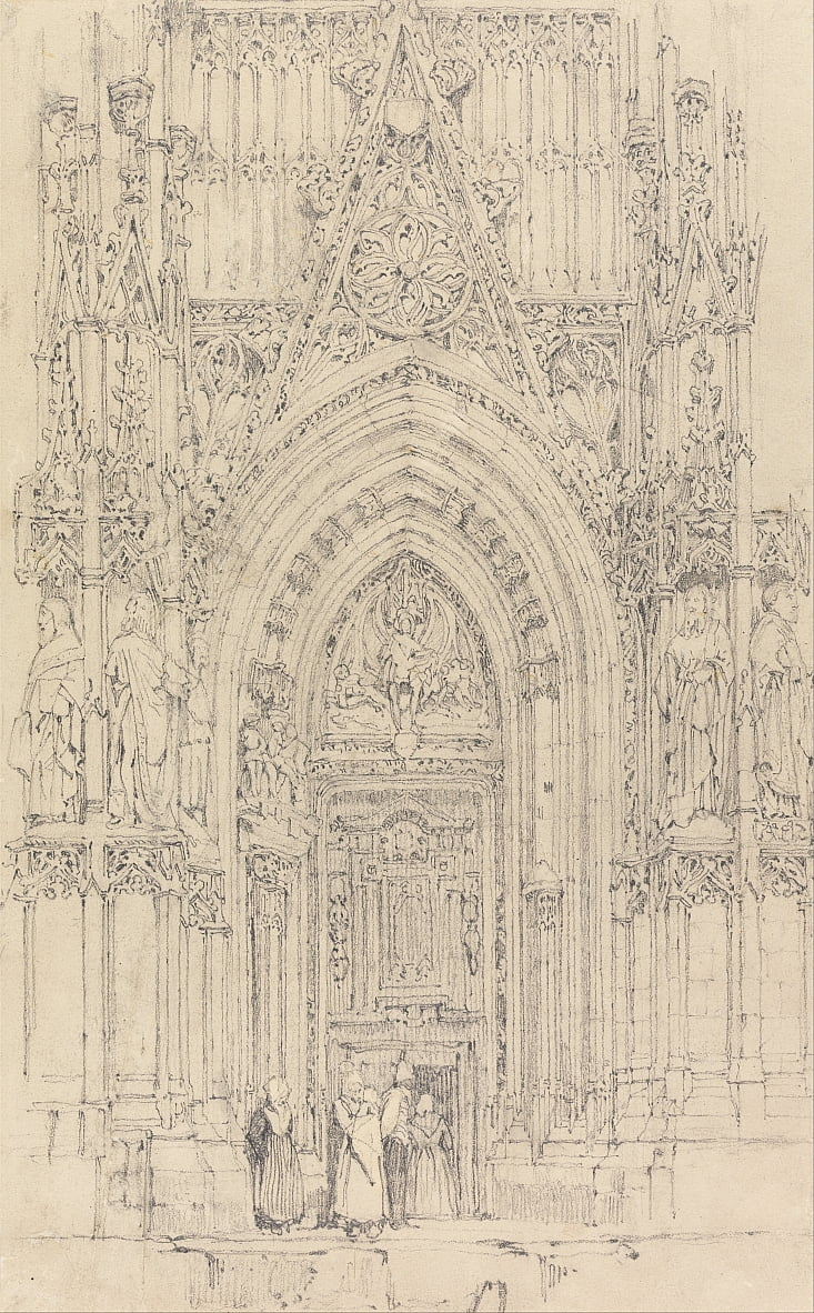 The Church of St. Wulfran, Abbeville- The North Door of the West Front by Richard Parkes Bonington