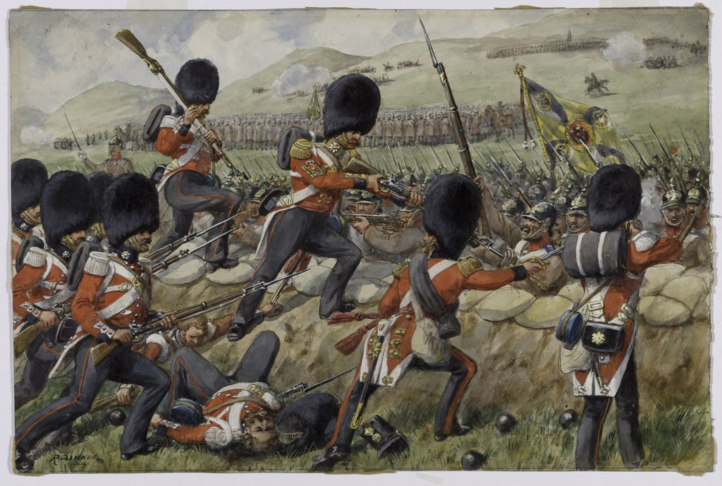 Detail of the Scots Fusilier Guards now Scots Guards at the Battle of the Alma, Crimean War, 20 September 1854 wc on paper by Richard Simkin