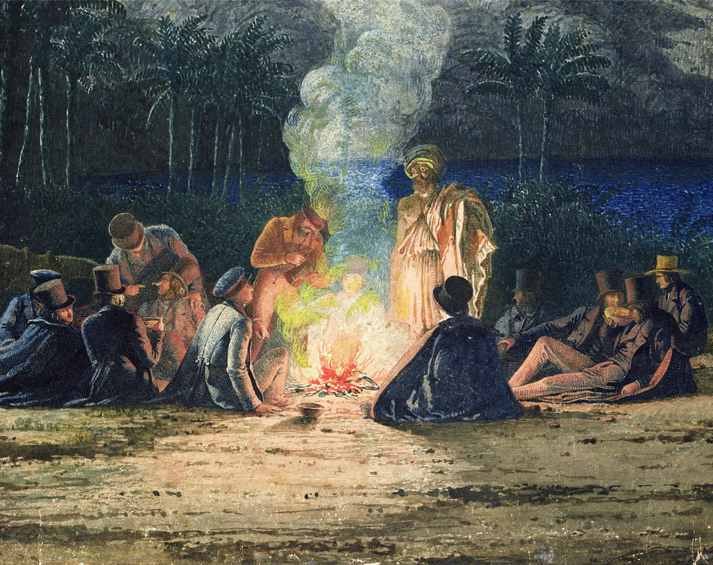 Artists Halt In The Desert By Moonlight