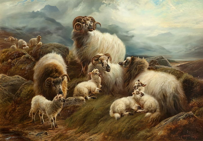 Sheep in a Landscape, 1894  by Robert Watson