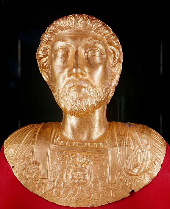 Bust of Marcus Aurelius (121-180 AD) (gold) by Roman