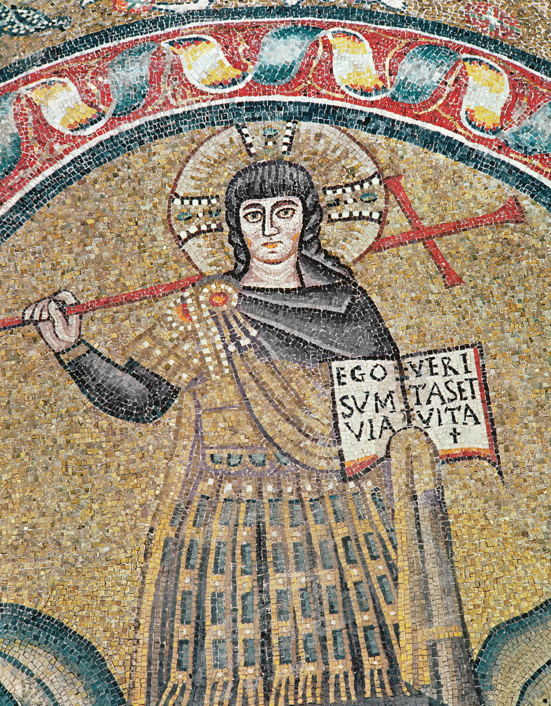 Detail of a Warrior Christ mosaic by Roman