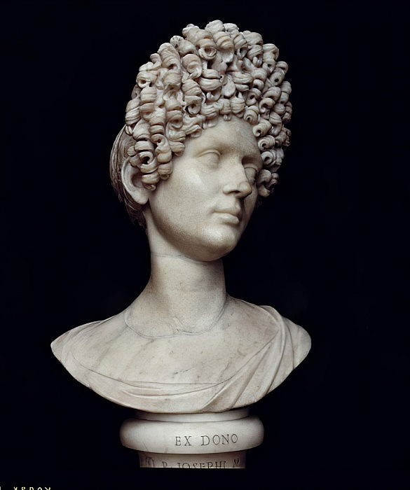 Portrait bust of a Roman woman at the time of Flavius, c.AD 90 (marble) by Roman