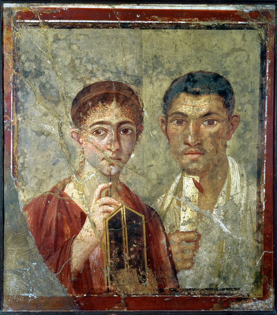 Portrait of the Baker, Terentius Neo and his wife, from the atrium of a house in Pompeii, 1st century AD (fresco on plaster) by Roman