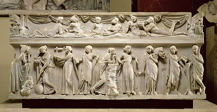 Sarcophagus of the Muses, Roman (marble) by Roman