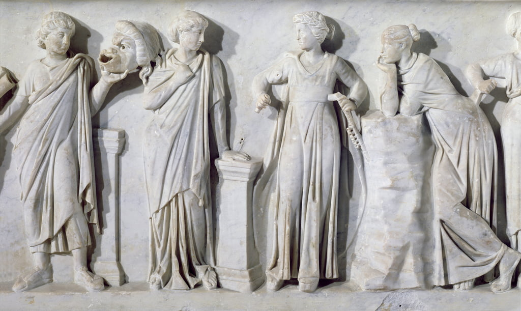 Sarcophagus of the Muses, detail of Thalia, Erato, Euterpe and Polyhymnia, c.160 AD marble by Roman