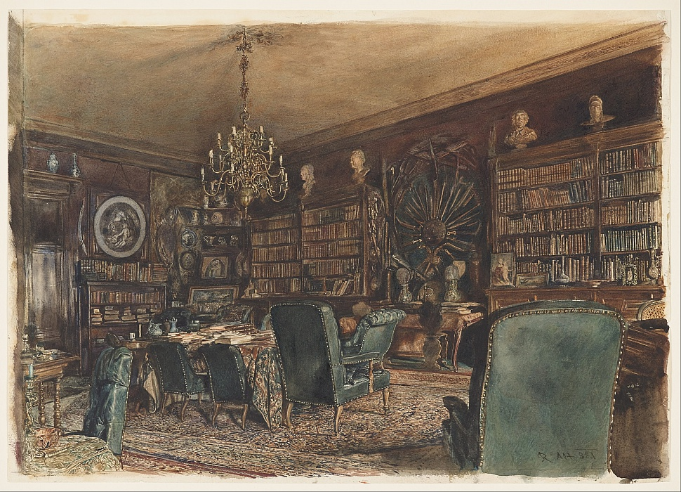 The Library in the Apartment of Count Lanckoronski in Vienna, Riemergasse 8 by Rudolf von Alt