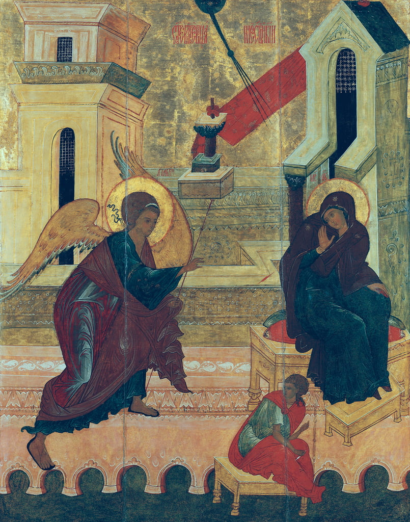 Icon depicting the Annunciation (tempera on panel) by Russian School