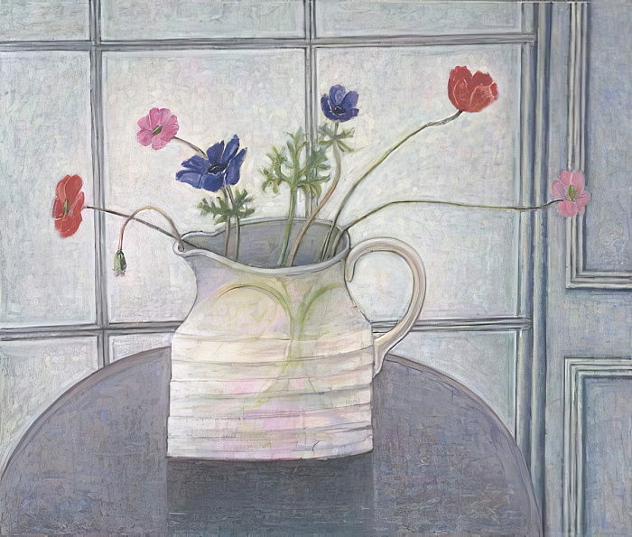 Anemones and Poppies, 2008  jug; flowers; still life; inetrior; window; table; white jug; by Ruth Addinall